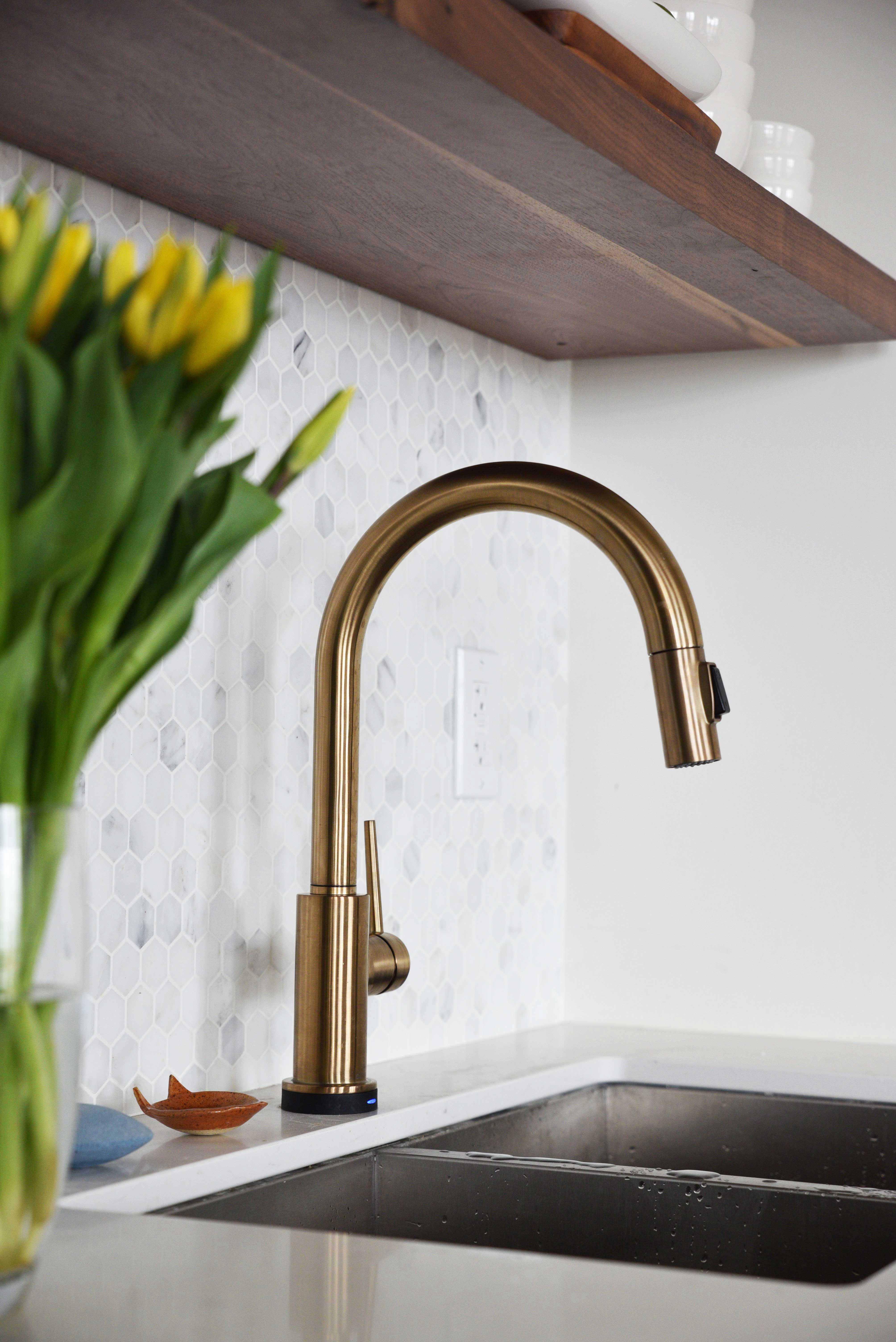 fuse kitchen faucets delta company faucet versatility with varied brings champagne bronze